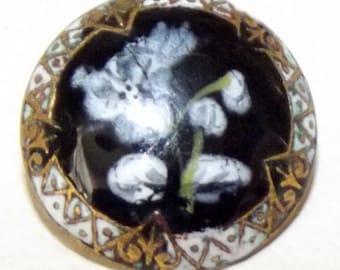 Antique Button ~ Enamel Metal Button ~ Enamel Painted floral design Button