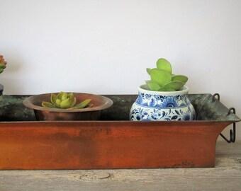 Vintage copper planter/succulent planter/metallic accent