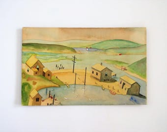 Vintage original watercolor/ seascape/ coastal decor/ wall decor