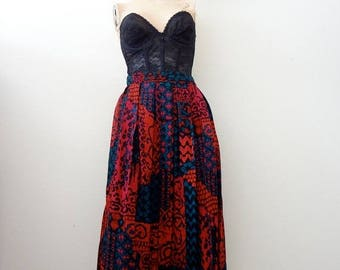 ON SALE 1980s Rayon Skirt / abstract ethnic print a-line / vintage fashion
