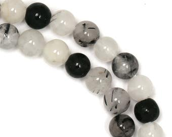 Black Tourmalated Quartz Beads - 6mm Round - Limited Quantity