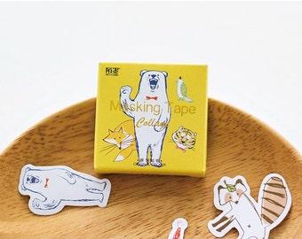 45 Pcs Happy Zoo Planner Stickers - Washi Tape Masking Tape Decorative Paper Sticker