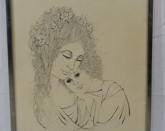 "Original Vintage Justine R SCHACHTER "" DEVOTION"" 66/100 Original Ink on Paper"