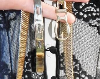Vintage Gold Mesh Belt size Small Thin Dress Belt High waist