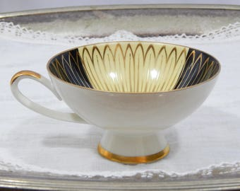 Vintage Alka Kunst ,Bavarian ,German Bavaria, Tea Cup ,Art Deco Flower,Gold Accent,Black,Light Yellow, Circa 1930s