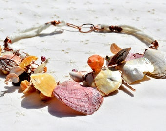 Necklace Colorful Seashell Necklace Tribal Necklace Pink Yellow White Shell Copper Necklace Mother of Pearl+ Pearls Free Shipping Israel