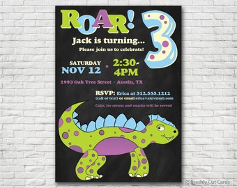 Roar Dinosaur Birthday Invitation - Printable or Printed (w/ FREE Envelopes)