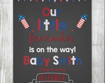 Fourth of July Pregnancy Announcement Chalkboard Sign- Pregnancy Reveal Photo Prop - Printable Pregnancy Announcement Sign