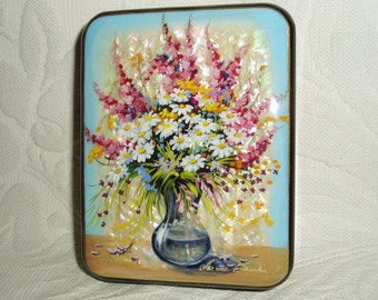 Russian Lacquer box Fedoskino Mother of pearl Wildflowers bouquet Hand Painted
