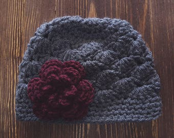 Girl Crochet Hat, Newborn Hat, Gray and Burgundy Hat, Baby Girl Hat, Newborn Photo Prop, Girls Gray Hat, Baby Girl Beanie, Christmas Hat
