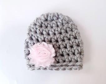 Baby Girl Hat / Newborn Beanie / Crochet Newborn Hat / Baby Girl Beanie / Baby Shower Gift Girl / Newborn Girl Hat / Crochet Baby Hat