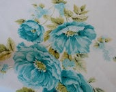 "Pretty 1950s Vintage Cotton Tablecloth Blue Roses 47 1/2"" x 51 3/4"""