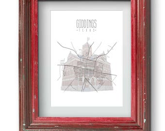 Giddings Texas Map and Courthouse Print {Digital}