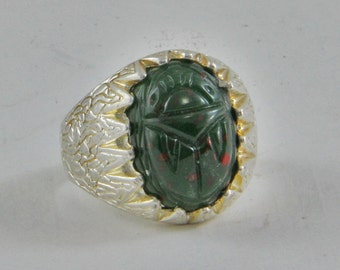 Handmade  Ring Sterling Silver Size 10.5-11   Vintage Glass Cabochons Dark Green Scarabs Bloodstone 18x13mm