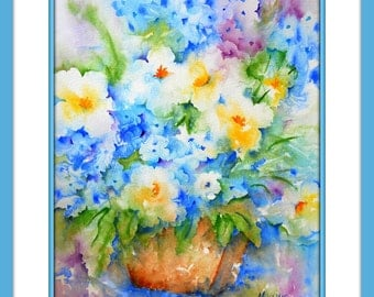 Watercolor of Soft, Pastel Floral Bouquet by Colorado Artist Martha Kisling