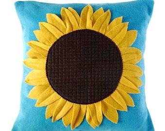 Sunflower cushion, turquoise fleece Sunflower pillow