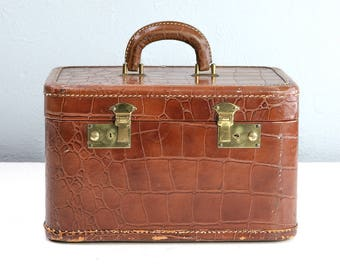 Vintage Alligator Train Case, Brown Cosmetic Case, Vintage Leather Luggage Suitcase, Theater Prop, Storage