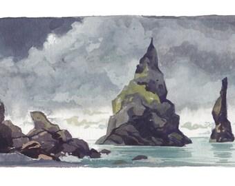Reynisdrangar- mini landscape painting