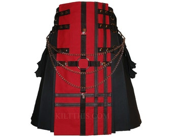 Interchangeable Black Red Canvas Cargo Kilt Leather Double Cross Design Custom Adjustable Many Options
