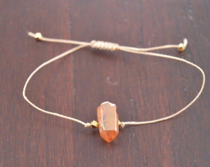 Tangerine Aura Quartz Crystal Point Bracelet, wish bracelet, best friend gift, minimalist jewelry, best friend bracelet, beaded bracelet