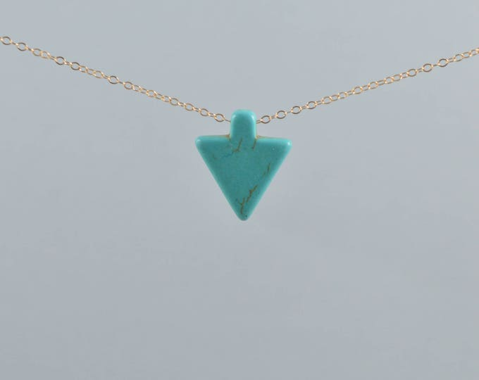 Turquoise Magnesite Arrowhead Necklace