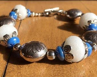 Snow Queen - lampwork bead bracelet