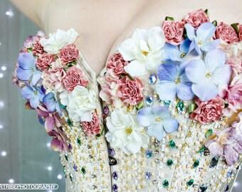 Hand beaded silk flower burlesque corset - Flower Fairies
