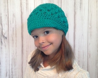 Teal Saturday Hat, Fits 10 years old To Women, Ready To ship,  Brimmed Crochet Hat, Fall Hat, Winter Hat, Teen Hat, Womens hat