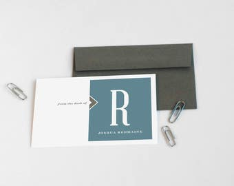 Personalized Stationery Set, Men's Personalized Note Cards // DOWN THE BLOCK