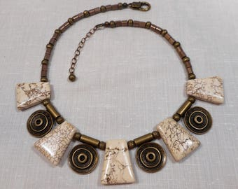 Tibetan Brass Pendants with Slabs of Natural White Magnasite Necklace