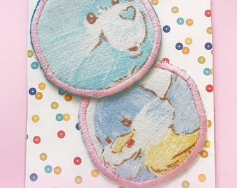 Care Bears baby blue upcycled IRON on patch SET OF 2 diy kitschy flair