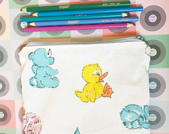 vintage baby puppy cat and duck make up or pencil bag