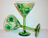 St. Patrick's Day 4 Leaf Clover Shamrocks Hand Painted Martini Glasses Set of 2 -12 oz. Martini Glassware Green Stemmed Glasses