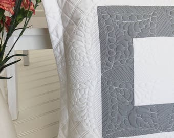 Quilted Pillow Gray White Pillow with Flange Home Decoration Heavily Quilted Square Pillow 16 x 16