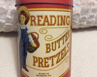 EASTER SALE Vintage Reading Butter Pretzel Tin Container Red Pennsylvania Advertising