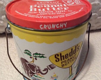 MOTHERS DAY SALE Rare 1960s Crunchy Shedds Peanut Butter Tin Container Pail Great Condition Orange Vintage Advertising