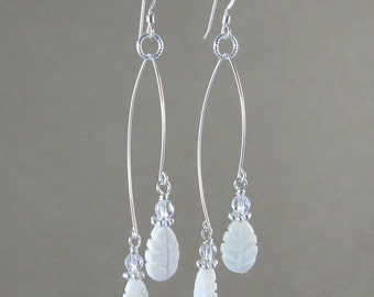 SALE! Prosperity & Protection earrings with Mother of Pearl and Quartz (347)