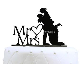 Unik Occasions Mr. & Mrs. Silhouette Acrylic Cake Topper