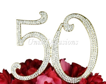 Unik Occasions Sparkling Collection 50th Birthday/Anniversary Cake Topper