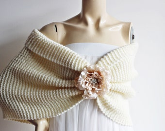 Ivory Bridal Capelet with Champagne Flower Pin / Wedding Wrap Shrug Bolero/Ready to ship