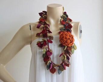 Multicolor Crochet Scarf-Leaves  Necklace Scarf-Necklace Lariat Scarf-Vegan Scarf-2 pieces