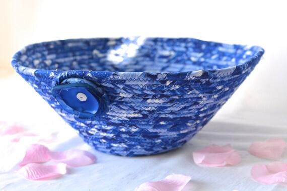 Soft Pottery Vase, SALe... Handmade Lapis Blue Fabric Basket, Lovely Decorative Fiber Bowl, Unique Fiber Vase, Gift Basket, Picnic Basket