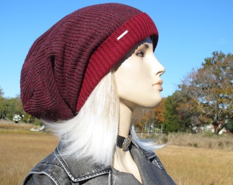 Oversized Tams Slouchy Beanie Red Gray Thick Knitted Tam Baggy Long Cuffed Hats A1818