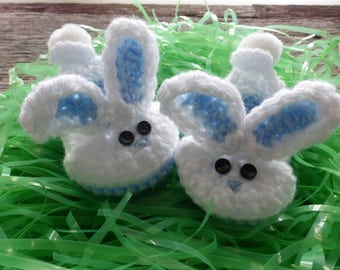 Crocheted Blue Baby Bunny Booties, Crocheted Baby Booties, Baby Boy Bunny Booties