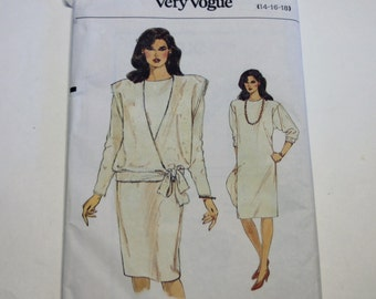 Very Easy Vogue 9036: Misses' Dress and Top Sizes 14,16,18 UNCUT