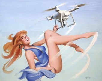 Drona, drone pinup girl 24x30 (61 x 76 cm) oil painting by artist RUSTY RUST / 1570