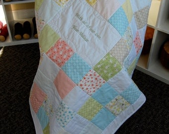Custom Made Baby Quilt, Your Choice of Fabrics, Crib Size, Hand Quilted