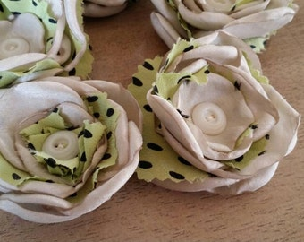 Fabric flowers --- 5 champagne with mint green--- upcycled
