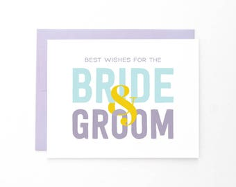 Best Wishes Wedding Greeting Card | Bride & Groom Typographic Card | Marriage