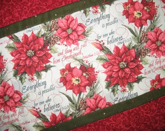 Sale Christmas in July Christmas Scripture Table Runner, Poinsietta, quilted